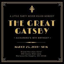 Gatsby Invitations Great Gatsby Invitation Templates U2013 Canva Regarding Great Gatsby
