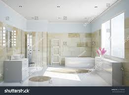 clean modern bathroom terracotta tiles bathtub stock illustration