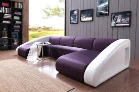 Purple Sectional Sofa Casa 0916 Modern Purple White Fabric Leather Sectional Sofa