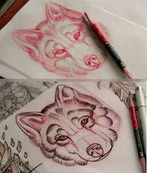 neo traditional wolf sketch tattoos neo