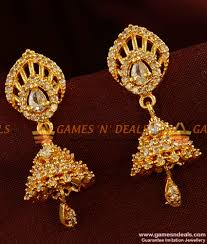 big rings design images Er323 cz stone big gold plated guarantee jhumkhi party wear