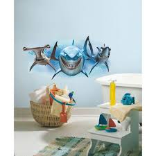 roommates 5 in x 19 in finding nemo sharks peel and stick giant finding nemo sharks peel and stick giant wall decal rmk2558gm the home depot