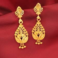 temple design gold earrings gold earrings for women in india luxury green gold earrings for