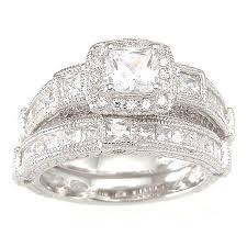 princess cut cubic zirconia wedding sets sterling silver princess cut wedding sets tbrb info
