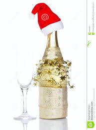 champagne bottle with red christmas hat stock photo image 6800684