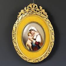 Gilt Bonze Enameled Portrait Antique Enamel On Porcelain Miniature Portrait Plaque Gilded