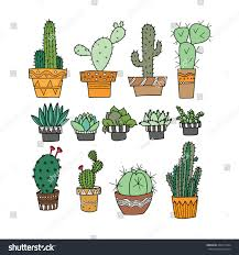 small plants cactus hand doodle stock vector 422311204 shutterstock