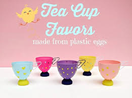 Plastic Easter Egg Decorating In Trees tea cup favors or decor from plastic easter eggs hometalk
