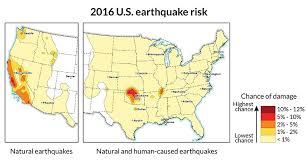 us geological earthquake map quake risk in parts of central u s as high as in fault filled