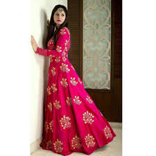 party wear dress buy pink tafeta embroidered semi stitiched party wear gowns online