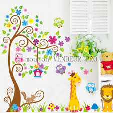 stickers animaux chambre bébé chambre bb arbre rideau chambre bb vert anis taupe blanc turquoise