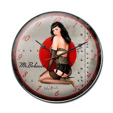 miss behavin pin up nose art wall clock vintage style decor