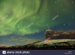 northern lights iceland april subglacial volcanic eruption under the eyjafjallajokull ice cap with