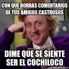 Memes De Cochiloco - meme willy wonka con que borras comentarios de tus amigos