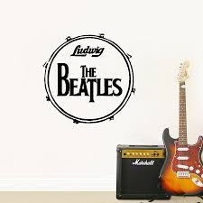 compare prices on musical sticker online shopping buy low price the beatles bass drum vinyl wall sticker musical instruments ringo ludwig wall art decals for living