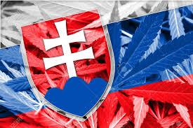 Slovak Flag Slovakia Flag On Cannabis Background Drug Policy Legalization