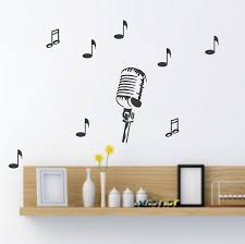 Music Note Wall Decor Microphone Wall Decal Music Wall Sticker Removable Vinyl Wall