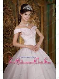light pink ball gown off the shoulder floor length appliques