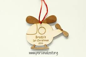 wooden helicopter ornament personalize it