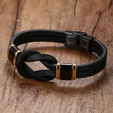 mens leather bracelets tribal braided knot infinity symbol surfing