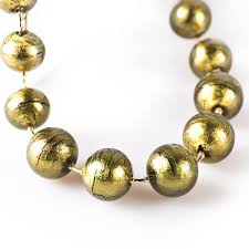 gold beaded necklace images Ball grey gold glass beaded classic necklace jpg