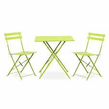 chaises salon de jardin salon de jardin bistrot pliable emilia carré vert anis avec deux