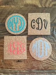 cork coasters monogrammed personalized cork coasters