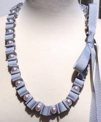 ribbon necklace images Light grey woven ribbon necklace dida design jpg