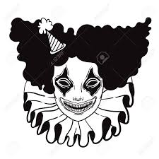halloween silhouette vector vector poster with an evil clown linear illustration of halloween