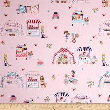 riley blake vintage market main pink from fabricdotcom designed