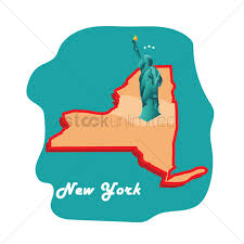 New York State Map New York State Map With Statue Of Liberty Vector Image 1592090