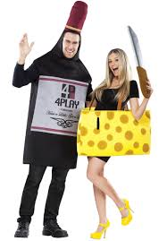 cartoon wine and cheese couples friends perfectly paired wine and cheese duo costume