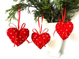 Cheap Christmas Decorations Melbourne handmade red hearts christmas tree decorations set of 3 gold star