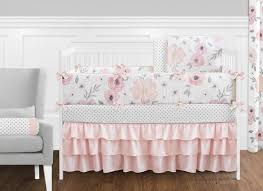 Floral Crib Bedding Sets 9 Pc Blush Pink Grey And White Shabby Chic Watercolor Floral