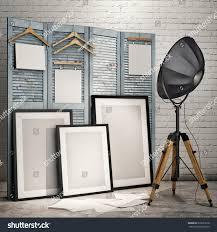 mock posters frames industrial lamp screen stock illustration
