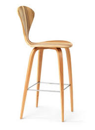 Modern Wood Bar Stool Norman Cherner Counter Bar Stool Wooden Base In Gum Stardust