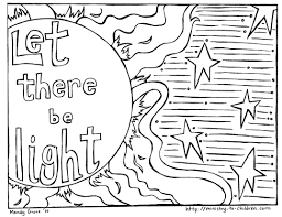 Let There Be Light Coloring Page liberal black light coloring pages creation with god made the 9196