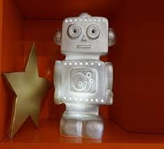kids lamp night light robot silver h33cm l18cm egmont toys