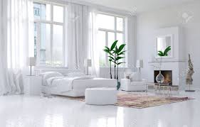 White Bed Room by Contemporary Spacious White Bedroom Interior With Monochromatic
