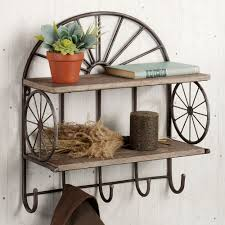open range western wall shelf with hooks