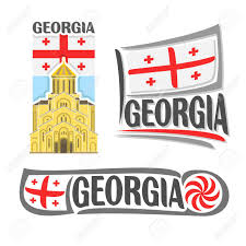 State Flag Of Georgia Vector Logo For Georgia Consisting Of 3 Isolated Illustrations
