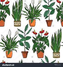 vector seamless pattern hand drawn houseplants stock vector