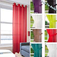 leona linen effect eyelet ring top voile curtain panel net
