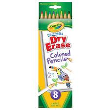 crayola 8 count washable dry erase colored pencils crayola