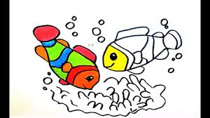 how to draw fish and crab for kids coloring pages for children
