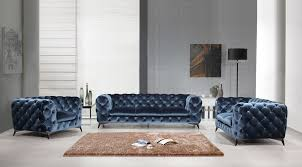 Blue Velvet Chesterfield Sofa by Casa Delilah Modern Blue Fabric Sofa Set