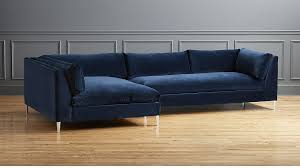 blue velvet sectional sofa decker 2 piece blue velvet sectional sofa reviews cb2