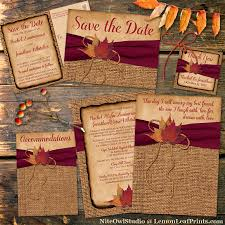 autumn wedding invitations rustic country wedding invitation autumn leaves on faux burlap