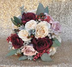 bridal bouquet bridal bouquet with marsala mauve and ivory roses dried brunia