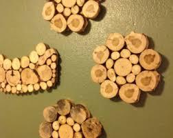 modern rustic wood tree slice wall hanging headboard